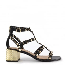 ROLLS Studded Heeled Sandals In Black Leather