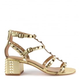 ROLLS Studded Heeled Sandals In Gold Leather