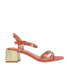 RUSH Block Heel Sandals Coral Leather & Gold Studs