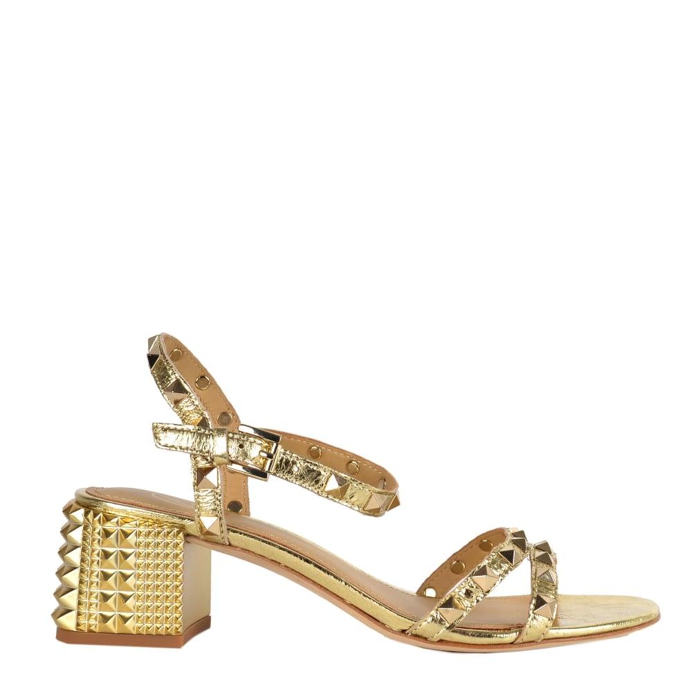 Heel In Studs Block Gold Sandals Rush Leatheramp; Y7gfb6y