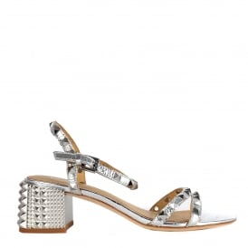 RUSH Block Heel Sandals Silver Leather & Studs