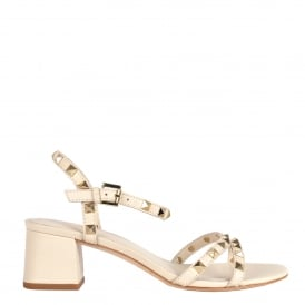 RUSH TER Block Heel Sandals Ivory Leather & Studs