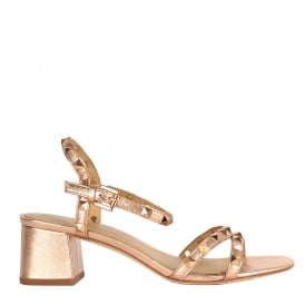 RUSH TER Block Heel Sandals Rose Gold Leather & Studs