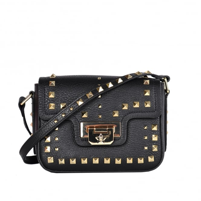 Ash SAGE Mini Crossbody Bag Black Leather & Studs