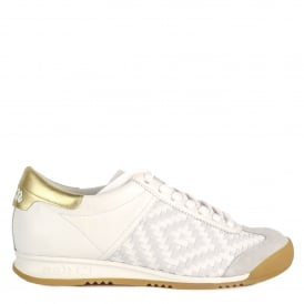 SCORPIO Trainers White Woven Leather & Suede