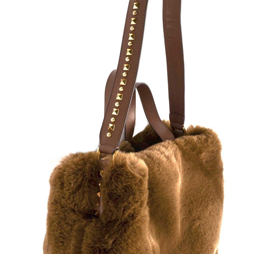 09aca79a39 Ash Secret Brown Faux Fur Hobo Bag