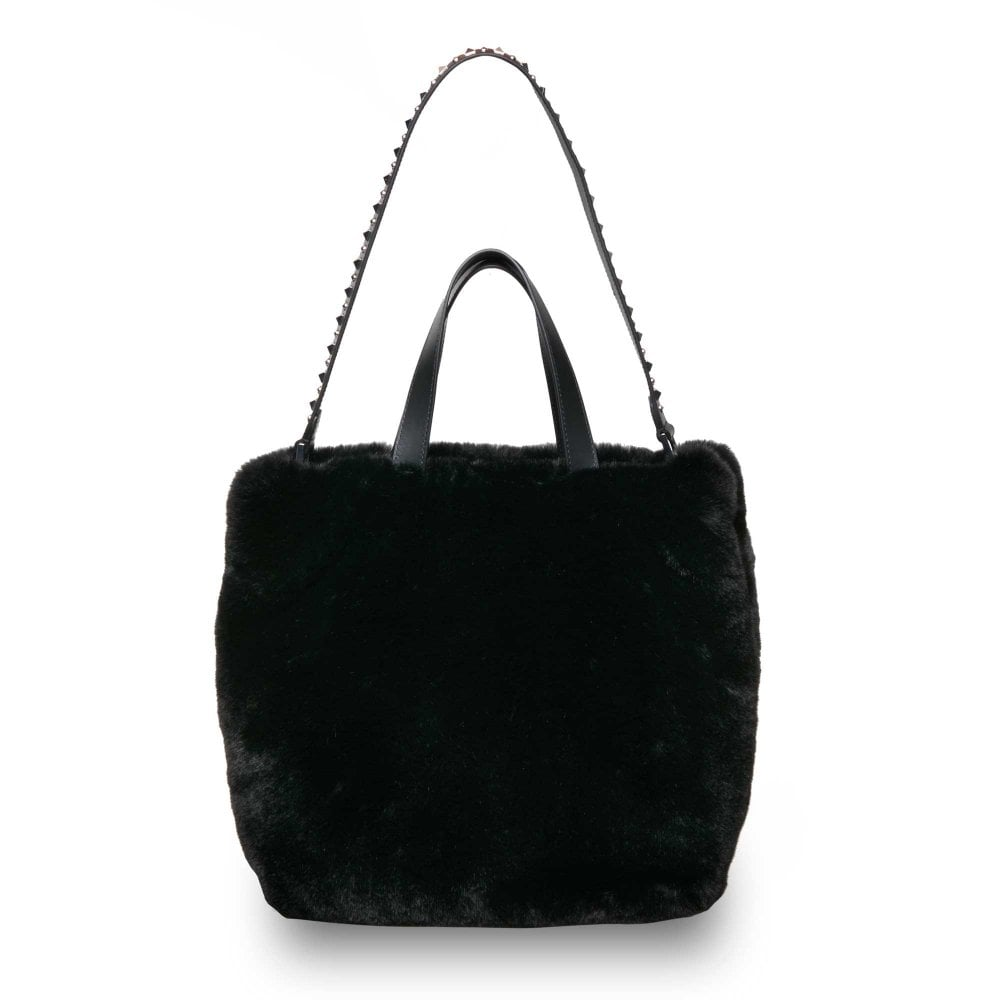 407a912d23 Ash SECRET Hobo Tote Bag Black Faux Fur