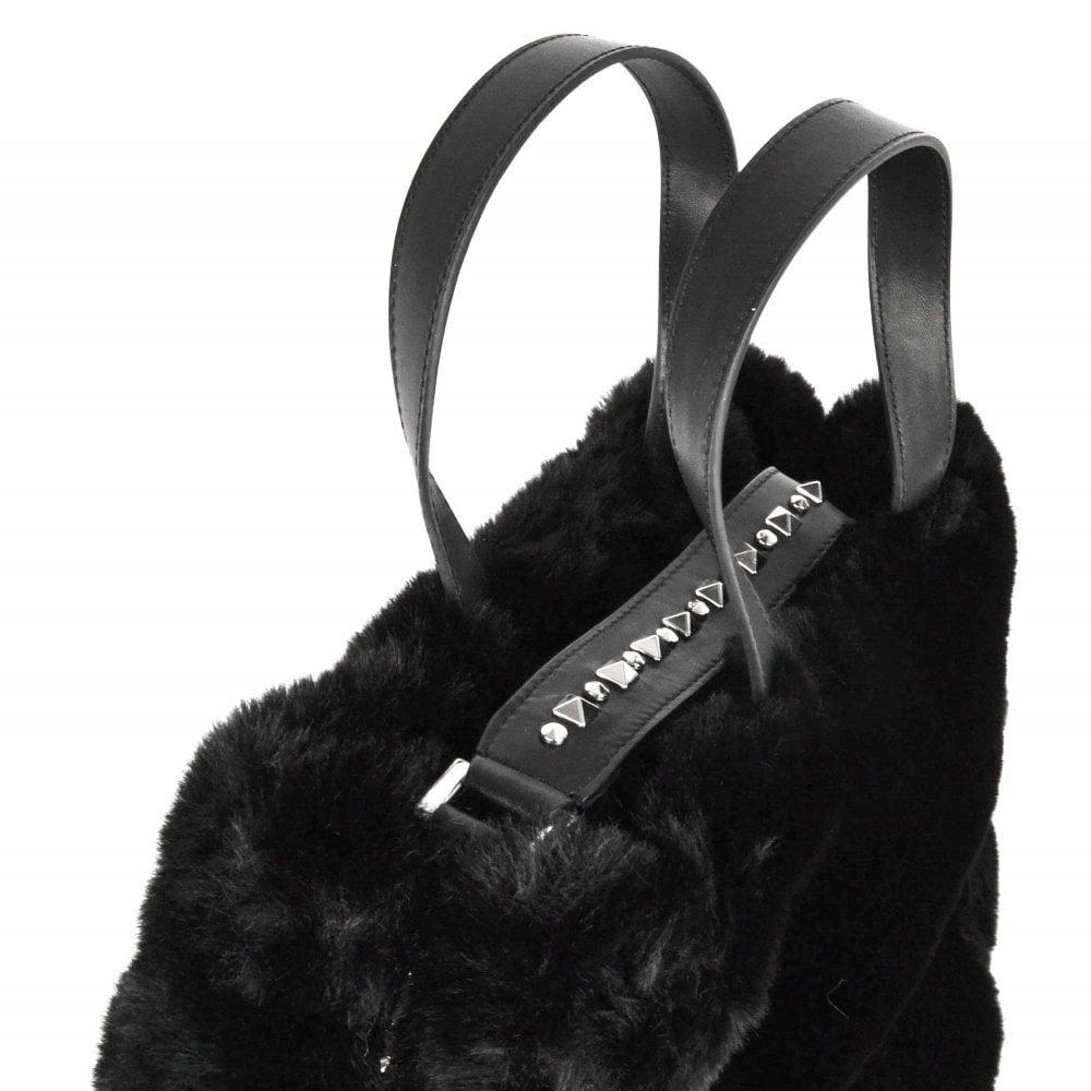 86aa377f53 Ash Secret Large Black Faux Fur Bag
