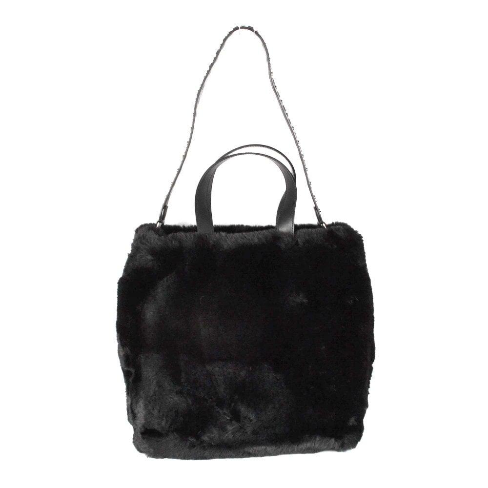 2a23bc272047 Ash SECRET Hobo Tote Bag Black Faux Fur
