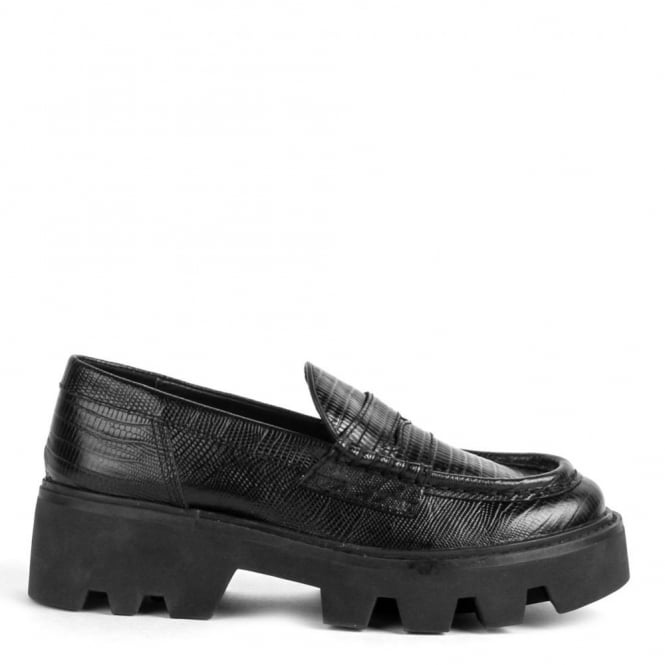 53148f75a19 Ash SERUM Cleated Sole Loafers Black Croc Leather