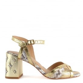 SEXY Sandals Leather Gold Python Print