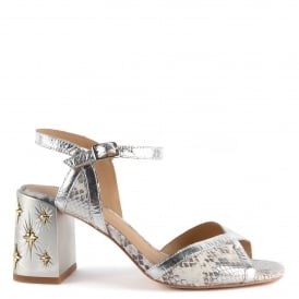 SEXY Sandals Leather Silver Python Print
