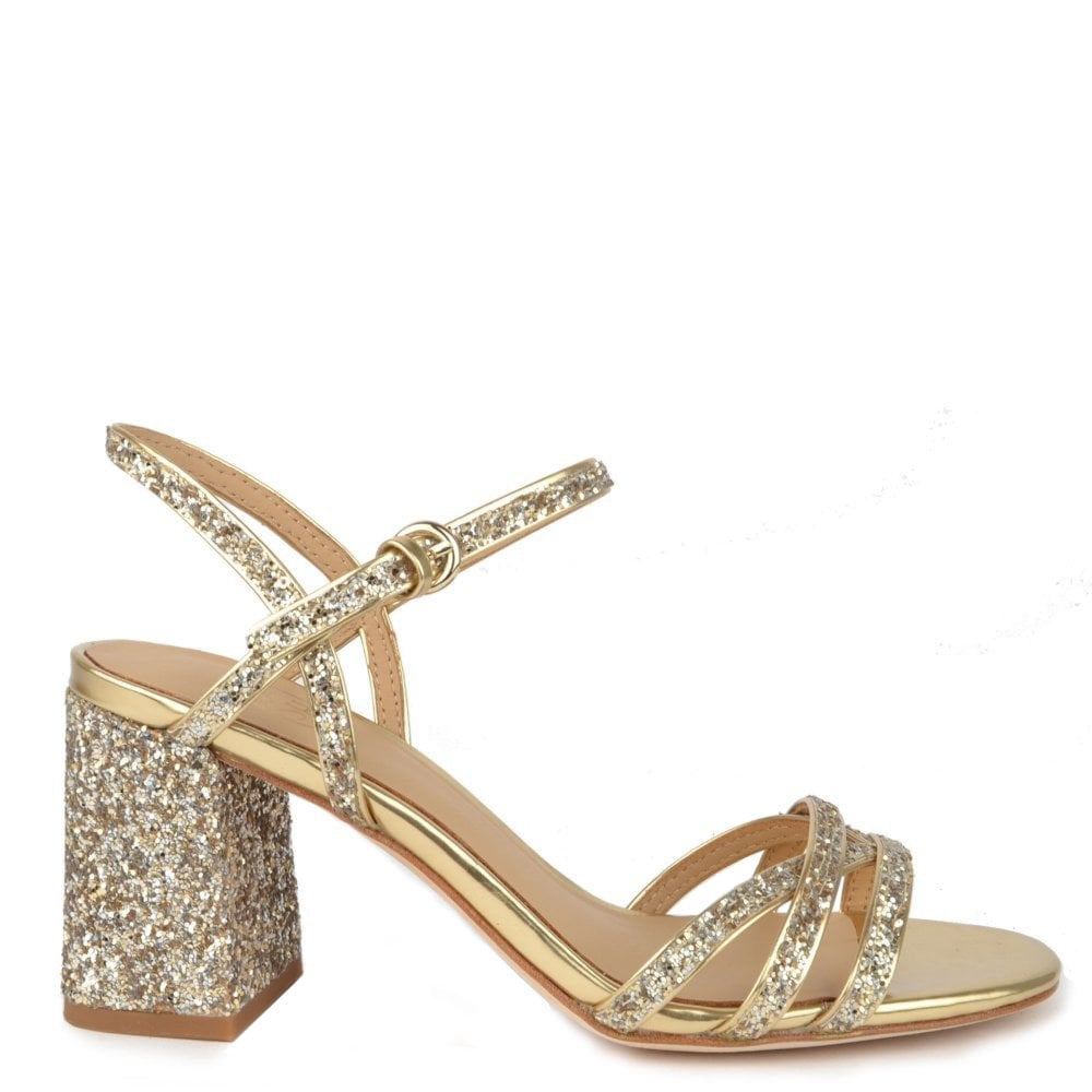 Gold Glitter Heel Sparkle Sandals Sparkle K1TlF3Jc
