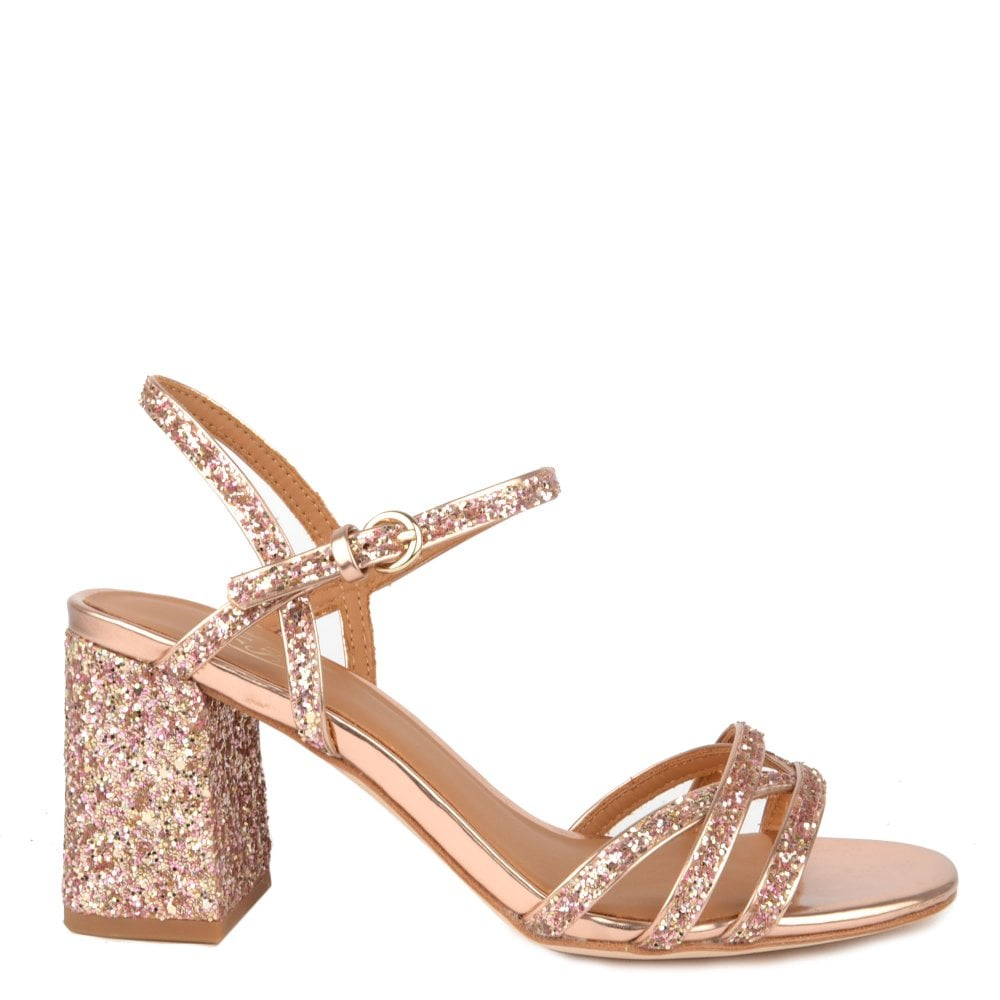 864c285f6312 Ash SPARKLE Heel Sandals Rose Gold Glitter