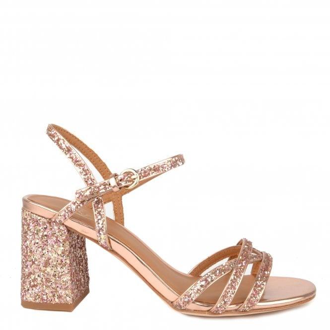 bc0a608b63d SPARKLE Heel Sandals Rose Gold Glitter