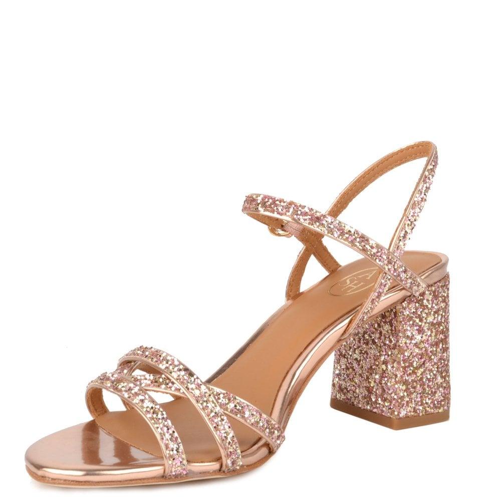 35fa200ade1 SPARKLE Heel Sandals Rose Gold Glitter