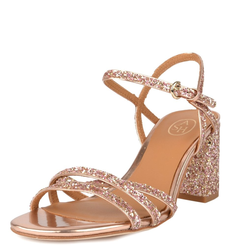 f6fe92f42ede SPARKLE Heel Sandals Rose Gold Glitter