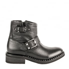 SPEED Biker Boots Black Leather & Gunmetal Studs