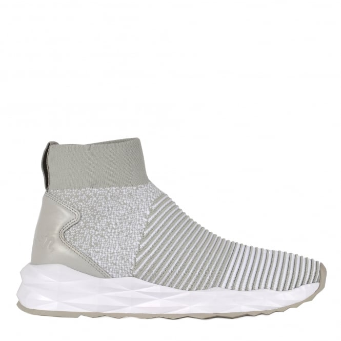 Ash SPOT Trainers Pearl White Ribbed Knit & Leather