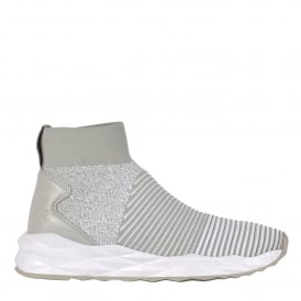 SPOT Trainers Pearl White Ribbed Knit & Leather