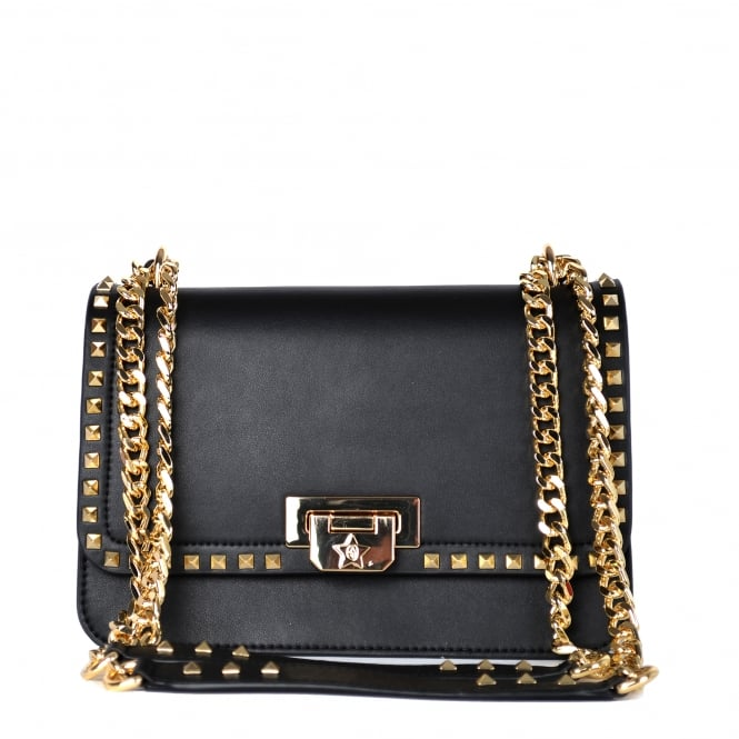 Ash STACEY Studded Crossbody Bag Black Leather