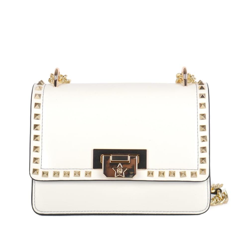 1e49e9f0aa STACEY Studded Mini Crossbody Bag Off-White Leather