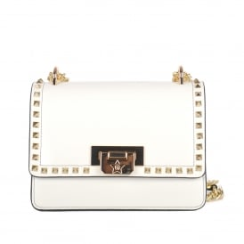 STACEY Studded Mini Crossbody Bag Off-White Leather