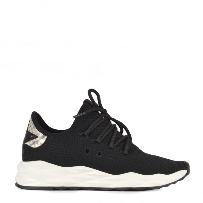 Ash STARDUST Trainers Black Stretch Knit & Python Effect Leather