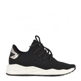 STARDUST Trainers Black Stretch Knit & Python Effect Leather