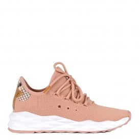 STARDUST Trainers Pink Stretch Knit & Python Effect Leather