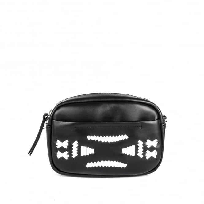 Ash STINGER Crossbody Bag Black & Silver Leather