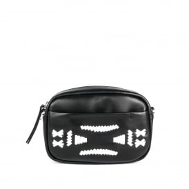 STINGER Crossbody Bag Black & Silver Leather