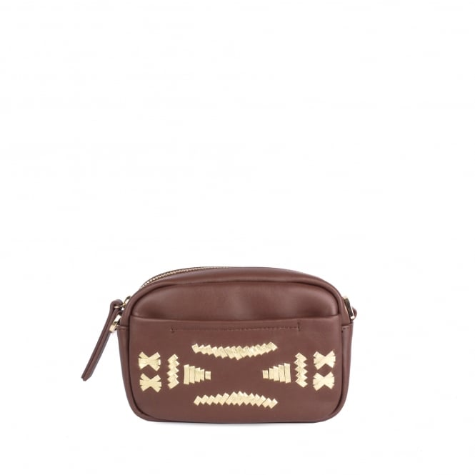 Ash STINGER Crossbody Bag Cacao & Gold Leather