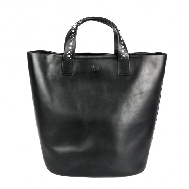 Ash STINGER Large Bucket Bag Black Leather Silver Studs