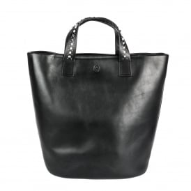 STINGER Medium Tote Black Leather Silver Studded Straps