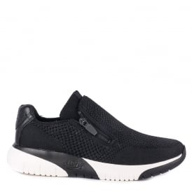STUDIO Trainers Black Knit Fabric & Leather