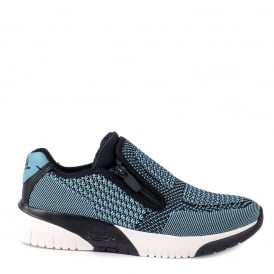 STUDIO Trainers Lagoon Blue & Black Knit Fabric & Leather