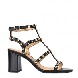 SUBLIME Studded Heeled Sandals Black Leather