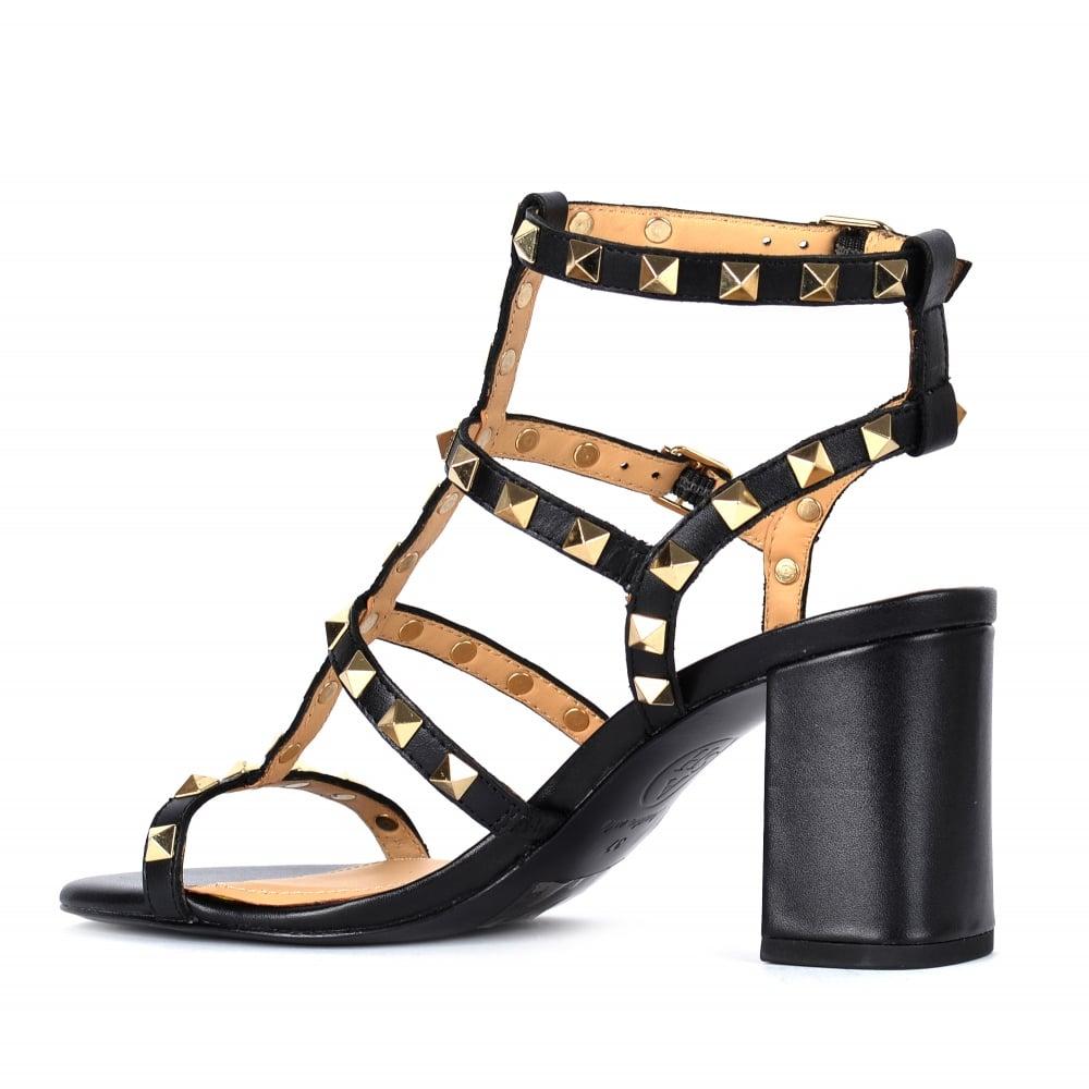 f5a00e28e5aa1 SUBLIME Studded Heeled Sandals Black Leather