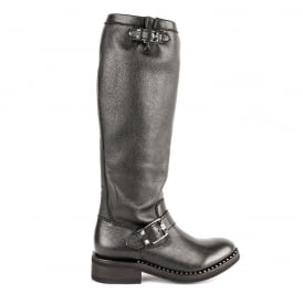 SUGAR Biker Boots Black Leather
