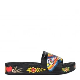SUNNY Embossed Sandals Black Floral & Animal Print
