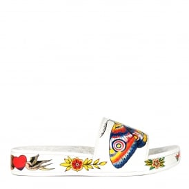 SUNNY Embossed Sandals White Floral & Animal Print
