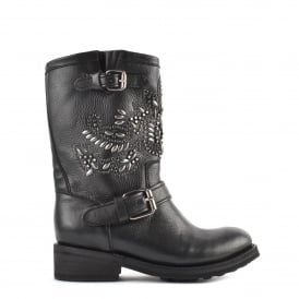 TARA Biker Boots Black Leather & Gunmetal Studs