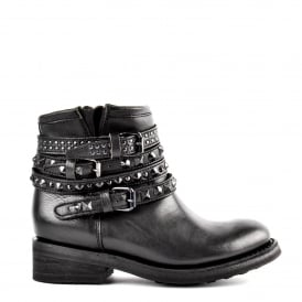 TATUM Biker Boots Black Leather & Black Studs