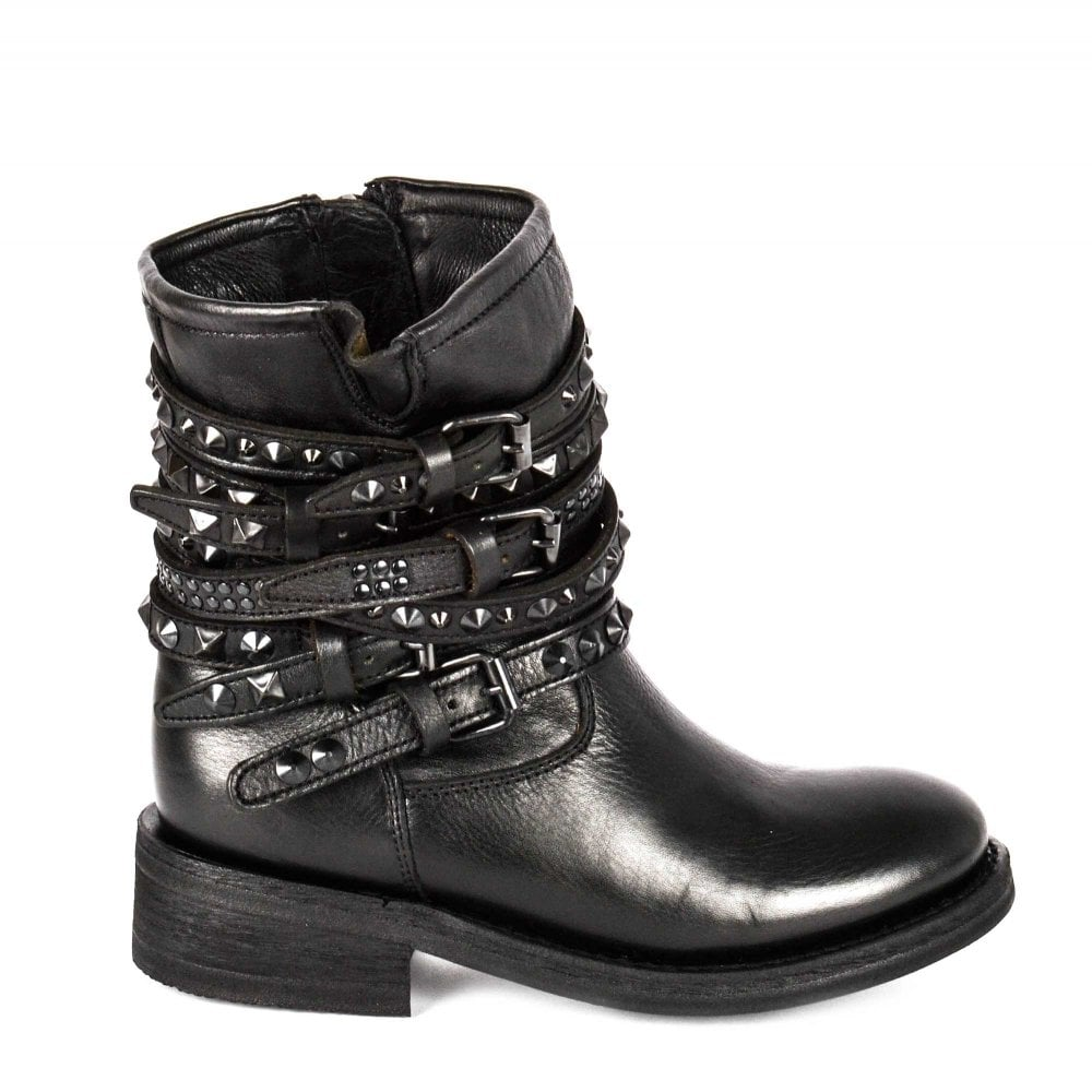 4b0f02f13b TEMPT Biker Boots Black Leather Black Studs