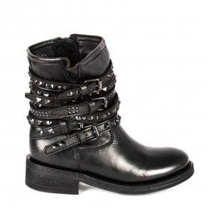 70e89a440db1d Ash TEMPT Biker Boots Black Leather Black Studs