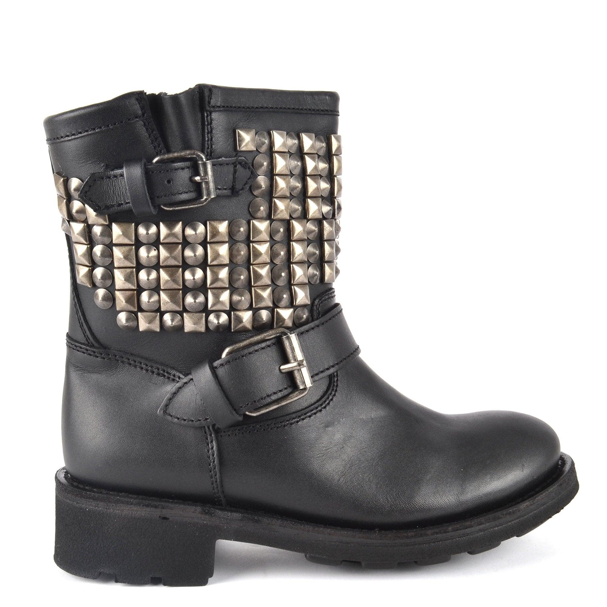 Black Leather Biker Boots | Ash