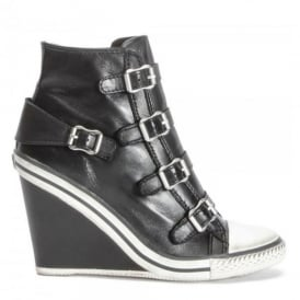 THELMA Hi-Top Wedge Trainers Black Leather
