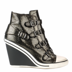 THELMA Hi-Top Wedge Trainers Bronze Glitter Coated Leather