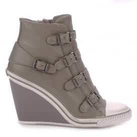 THELMA Hi-Top Wedge Trainers Perkish Leather